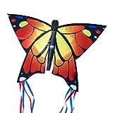 CIM Cometa de Mariposa - Butterfly ORANGE- Cometa de una sola línea para niños mayores de 3 años - 58 x 40 cm - incl. 20 m hilo de cometa - con tiras de 195 cm en la cola de arco