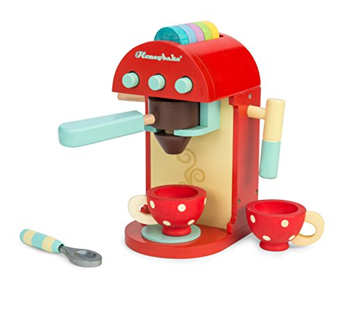 Le Toy Van - Honeybake Premium Wooden Cafe Machine Set - Pretend Kitchen and Cafe Play Toy Set | Kids Role Play Toy Kitchen Accessories (TV299)