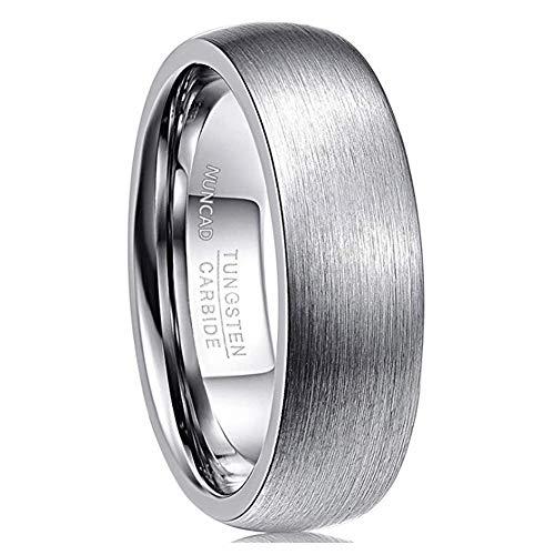 NUNCAD Ancho 7 mm Acero Inoxidable Banda Venda Anillo Ring El Tono De Plata Alianzas Boda Hombre, Talla 52 (16,5mm)