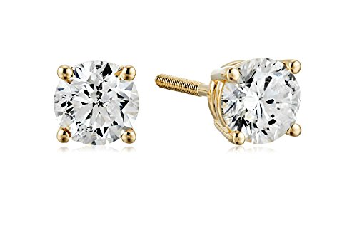 Amazon Collection AGS Certified 14k Yellow Gold Diamond with Screw Back and Post Stud Earrings (3/4cttw, J-K Color, I1-I2 Clarity)