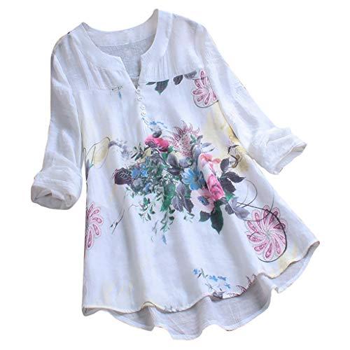 FRAUIT Damen Vintage Blumendruck Bluse Lose Langarm Patch Oberteil Retro V-Ausschnitt Tunika Knopfleiste T-Shirt Top Baumwolle