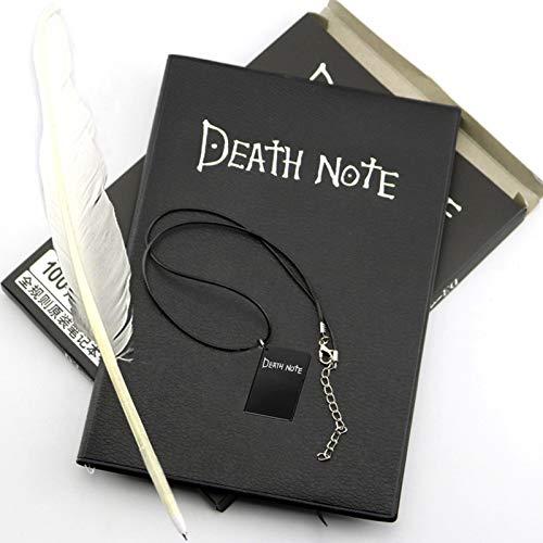 Saicowordist Set de cuaderno de notas de la muerte con pluma y collar, anime Cosplay Props negro pluma suministros escolares regalo para niños y niñas (estilo 03)