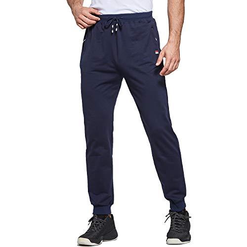 Tansozer Jogginghose Herren Baumwolle Sommer Dünn Lang mit Reißverschluss Taschen Blau XXXL