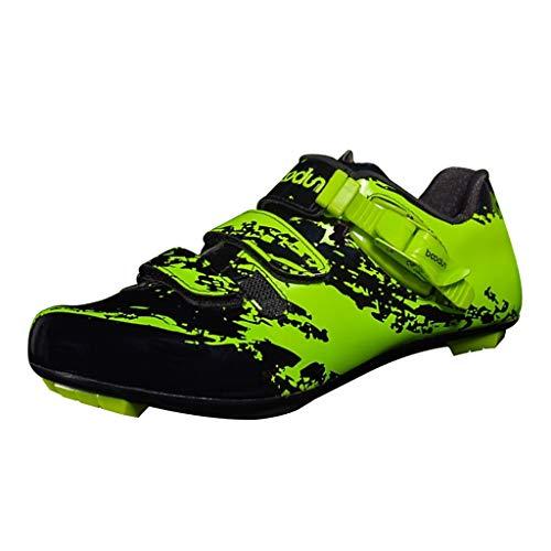 Injoyo Atmungsaktive Herren Rennrad Schuhe Mesh Racing Radschuhe Sneaker - Grün, 45