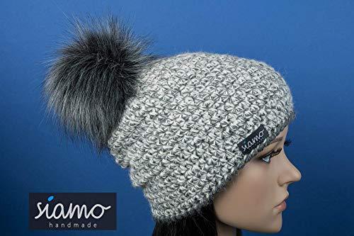 Luxus Mütze LIMA 100% Baby-Alpaka grau-meliert mit vegetarischem Fellbommel Beanie von siamo-handmade