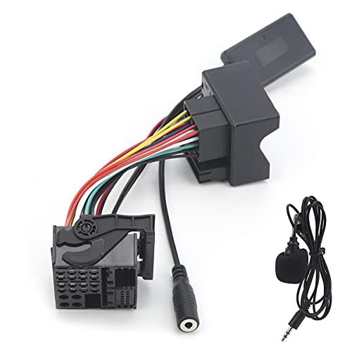 Aramox - Adaptador de micrófono para automóvil, Bluetooth 5.0 para automóvil, adaptador auxiliar de música, micrófono de 6 pines, cableado de manos libres, ajuste negro para Mondeo