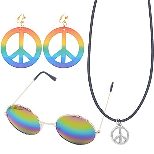 Yushulin Hippie Dressing Accessory Set, Hippie Glasses Peace Sign Necklace Hippie Style Peace Earrings