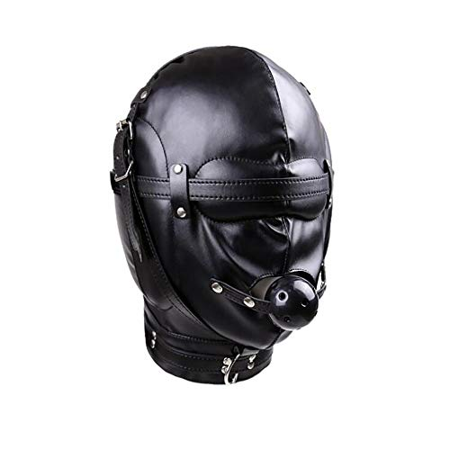 Halloween Masker Zwart Zacht Leer Volledig Gesloten Hoofddeksels Mond Bal Mond Plug Gag