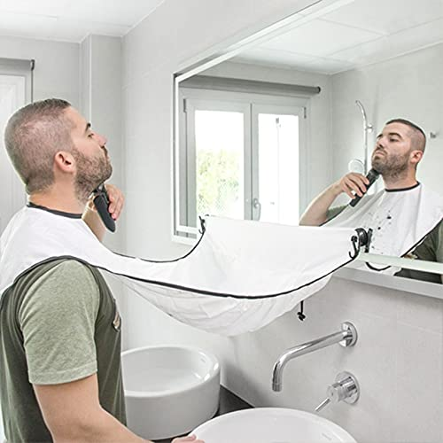 Beard Bib Beard Apron - Beard Catcher for Men Shaving & Hair Clippings, Non-Stick Beard Cape Grooming Cloth, Waterproof, with 4 Suction Cups, Best Gifts for Men - White