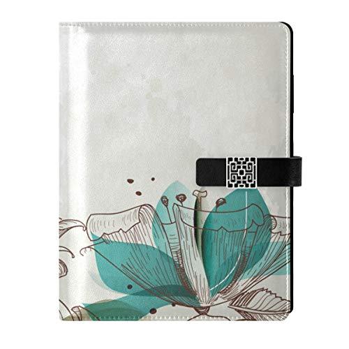 Cuaderno de cuero para diario, cuaderno de viaje, retro, floral, rellenable, A5, cuaderno de tapa dura, regalo para mujeres y hombres