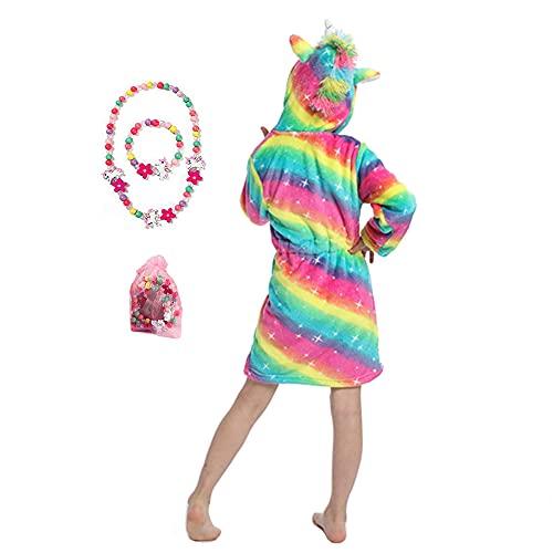 LinKeTop Albornoz de unicornio de franela cómoda con bonito juego de joyas, Twinkle Rainbow, 4 años