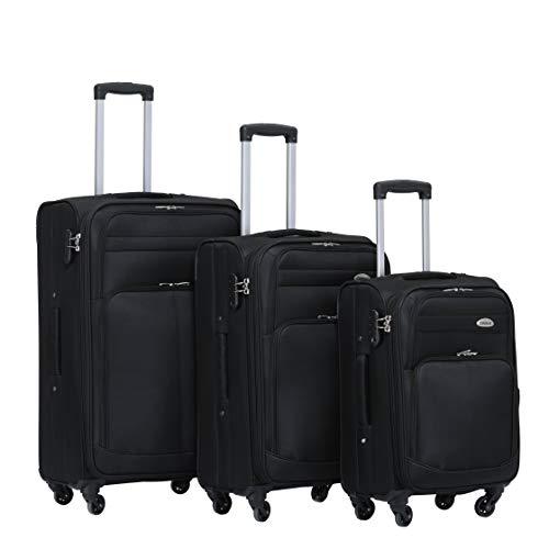 Kofferset Trolley Gepäckset Stoff Dehnungsfuge Koffer Reisekoffer (Schwarz)