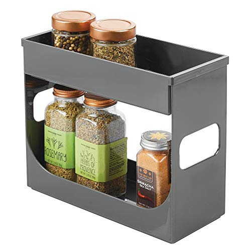 mDesign - Kruidenrek in 2-delige set - bergruimte/houder voor kruiden/theedoos/organizer voor keukenkastjes en aanrechtbladen - praktisch - antraciet