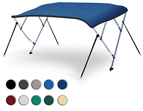"""Naviskin Pacific Blue 3 Bow 6'L x 46"""" H x 54""""-60"""" W Bimini Top Cover Includes Mounting Hardwares,Storage Boot with 1 Inch Aluminum Frame"""