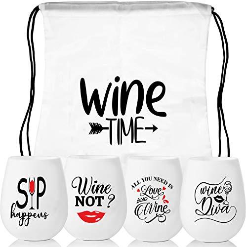 MUJUZE Silikon Weingläser mit Gravur 4 Set Wein-Glas Unzerbrechlich Wein Geschenk Becher Rotweingläser Spülmaschinenfest Bruchsicher Stemless Weinglas für Reisen Camping, Picknick und BBQ…