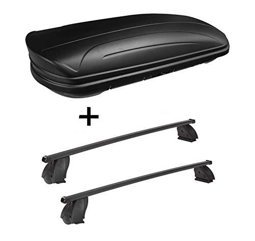 Dakbox VDPMAA320 320 liter afsluitbaar zwart mat + dakdrager K1 MEDIUM compatibel met BMW Serie 1 (F20) (5-deurs) vanaf 15