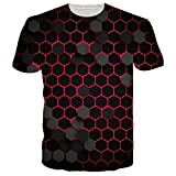RAISEVERN 3D Graphic Printed T-Shirt für Herren Damen Sommer Casual Hexagon Kurzarm T-Shirt L