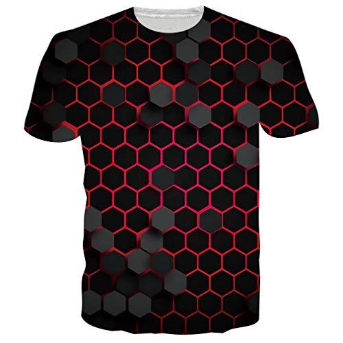 RAISEVERN T Shirt für Männer Frauen 3D Print Digital Cube T Shirt Sommer T-Shirts Kurzarm XL