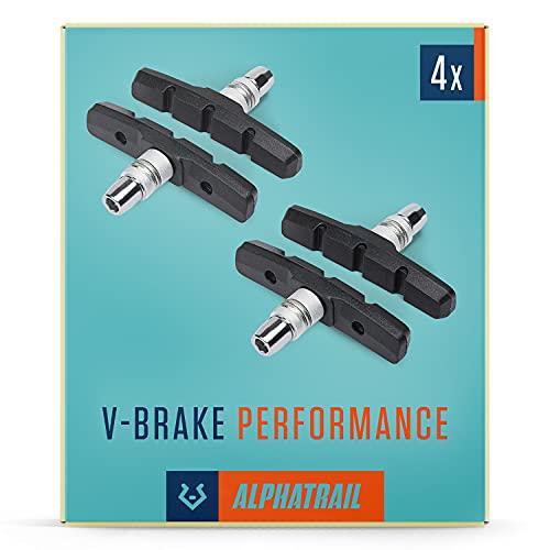 Alphatrail V-Brake Bremsbeläge 2 Paar 70mm I Hohe Bremskraft im Alltag I Langlebiger Bremsbelag & 100% Passgenau für V-Brakes von Shimano, Tektro, Avid, SRAM, XLC UVM