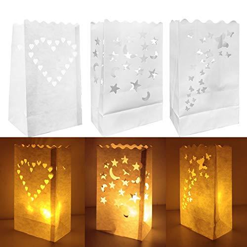 30 Stück Lichtertüten Leuchttüten Kerzentüten Dekorative Papiertüten für Kerzen LED, Feuerfestes Papier, Romantische Dekorationen für Hochzeiten Geburtstagsfeiern, weiße Farbe 3 Laserschneidmuster