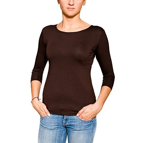 Alkato Damen Shirt 3/4 Arm Rundhalsausschnitt Stretch, Farbe: Braun, Größe: M