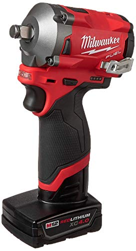 Milwaukee 2555-22 M12 FUEL 12-Volt Lithium-Ion Brushless Cordless Stubby 1/2 in. Impact Wrench Kit with One 4.0 and One 2.0Ah Batteries