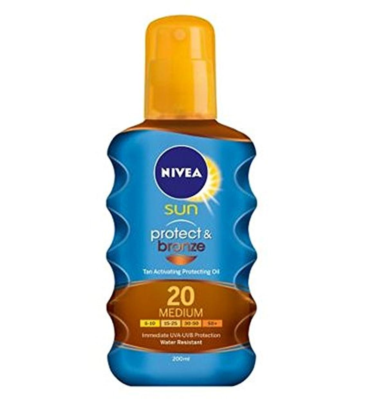 路面電車線形れるNIVEA SUN Protect & Bronze Tan Activating Protecting Oil 20 Medium 200ml - ニベアの日は、油媒体20 200ミリリットルを保護する日焼け活性化を保護&ブロンズ (Nivea) [並行輸入品]