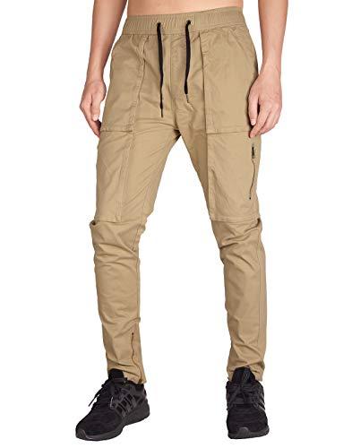 ITALYMORN Pantalones Cargo Slim Fit Chinos de Trabajo de Hombre Múltiples Bolsillos (L, Caqui)
