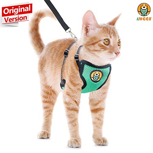 AWOOF Cat Harness and Leash Escape Proof, Adjustable Cat Kitten Puppy Walking Jacket