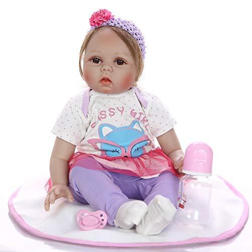 Bebes Reborn Toddler Girl Doll 55Cm De Silicone Real Bebe Alive Dolls Juguetes para Niños Regalo Vinilo Recién Nacido Princess Babies Doll,Brown Eyes