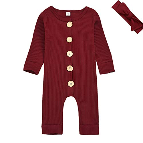 Shan-S Newborn Infant Baby Toddler Kids Girls Boys Long-Sleeved Cozy Solid Color Pit Piece Button Romper Jumpsuit Bodysuit Pajamas Outfits + Hair Band Set
