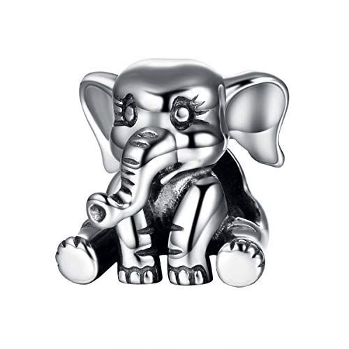 GW Charm de Plata Beads de Plata Charms Elephant 925 Bead de Plata esterlina para Cadena de Serpiente Pandora Pulsera Collar Que Hace Joyas para Mujeres y niñas (Elefante)