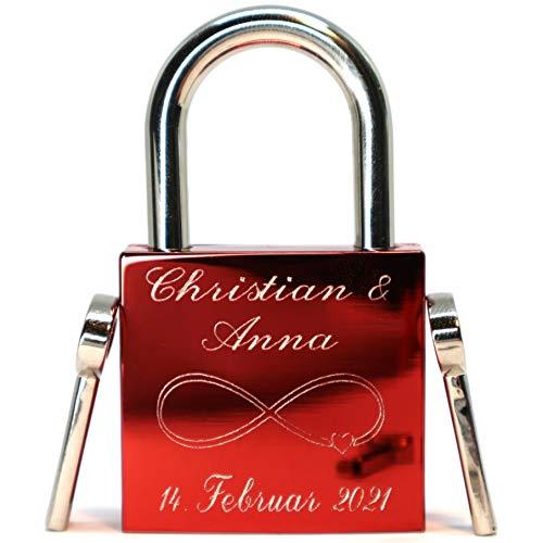 Liebesschloss rot glänzend mit 2 Schlüssel graviert Jetzt anpassen!