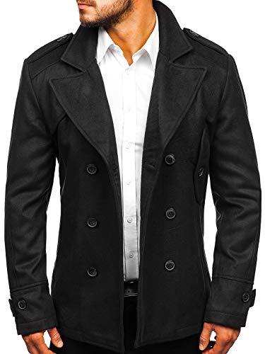 BOLF Herren Wintermantel Cabanjacke Zweireiher Mantel J.Style 3118 Schwarz M [4D4]