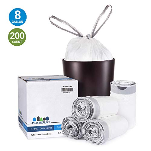 Plasticplace 8 Gallon Trash Bags │ 0.7 Mil │ White Drawstring Garbage Can Liners │ 22' x 22' (200 Case), Count