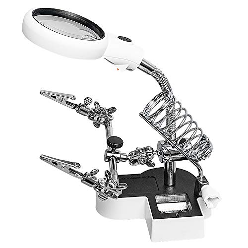 AORAEM Auxiliary Clamp Magnifier with Light and Stand in 4.5X 11x Helping Hands Magnifier Glass Soldering Station for Welding,Model Making,Micro Objects(#2)