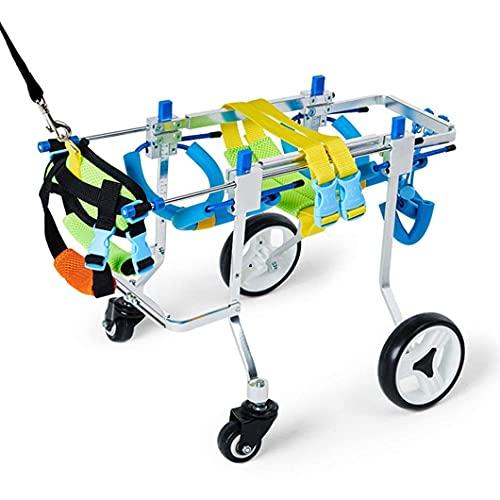 N&O Renovation House Hunderollstuhl Verstellbarer Vierrad-Haustierwagen 4 Größen für Ganzkörperunterstützung Vorderbeinrehabilitation für behinderte Hinterbeine Kleiner Hund Katze Welpenauslauf