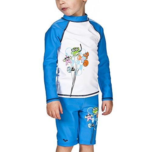 ARENA 000434_4-5 Camiseta de Manga Larga con protección Solar, Unisex niños, Blanco/Azul (Pix), 4-5