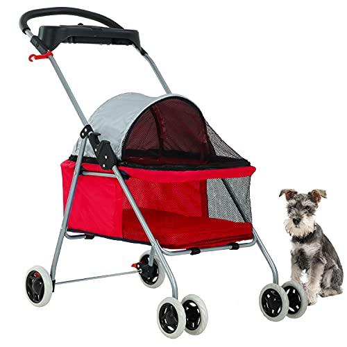 BestPet Pet Stroller 4 Wheels Posh Folding Waterproof Portable Travel Cat Dog Stroller