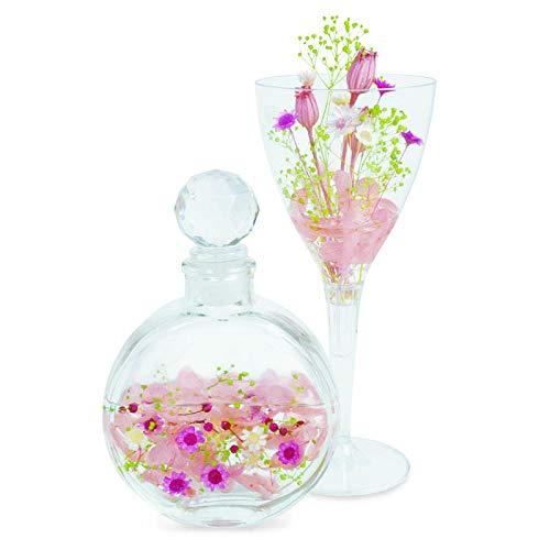 固まるハーバリウムでつくる丸瓶&ワインカップ(ピンク)