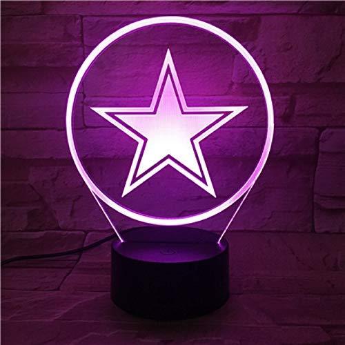 Luz de noche 3D luz LED estrella de cinco puntas estrella luz de noche decoración del hogar mejor regalo de ventilador para novio luz de noche luz de neón