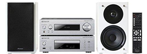 Pioneer P1-W kompakt HiFi Komponenten-Set (Direct Energy HD Endstufen, USB 2.0, 2X 75 Watt, Aluminium Front, 2 Wege Lautsprecher mit Bassreflex) Silber/weiß