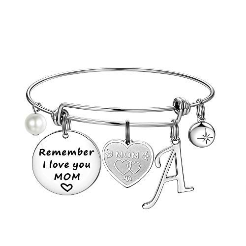 Gifts for mom, 26 Initial Charm Bracelets mom Birthday Gifts from Daughters Remember i Love You mom Charm…