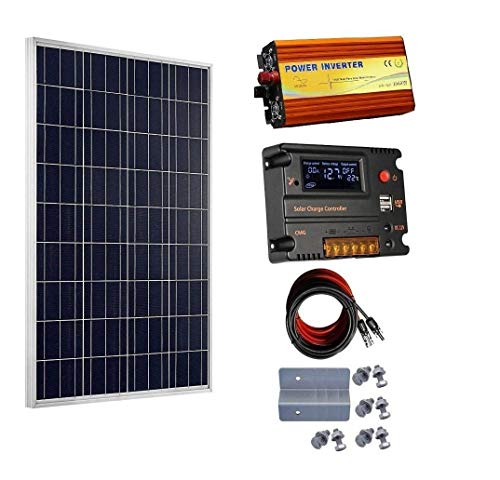 ECOWORTHY 100 W 12 V Solarpanel-Set & 20 A CMG PWM Laderegler & 1000 W Wechselrichter für Off-Grid 12 Volt Batteriesystem