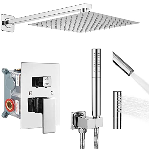 Aolemi Polish Chrome Bathroom Shower System 12 Inch Square Rainfall Shower Head with 2 in 1 Handheld Spray Dual Functions Shower Faucet Fixture Combo Set Rough in Valve Included Wall Mounted