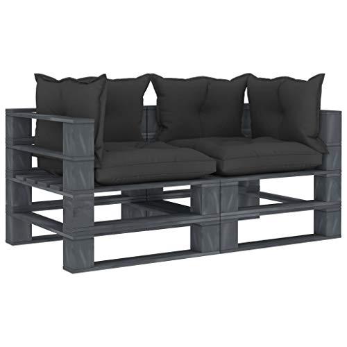 Extaum Sofá de 2 plazas para jardín, con cojines de palé, cojín de asiento, sofá de palés, sofá con cojines negros, de madera