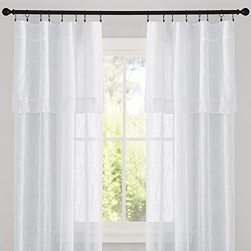 RYB HOME Linen Sheer Curtains Boho Curtains Rustic Style with Macrame Valances Light Filtering Privacy Window Covering for Bedroom Home Office, 52 inch Wide x 63 inch Long, White, 1 Pair
