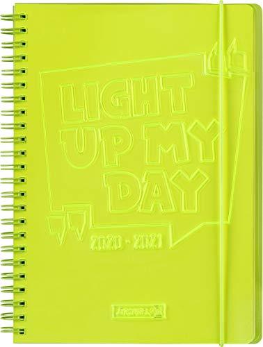 "BRUNNEN 1072190161 ""Light up"", Wochenkalender/Schülerkalender 2020/2021, 2 Seiten = 1 Woche , Blattgröße 14,8 x 21 cm , A5 , PVC-Einband , gelb"