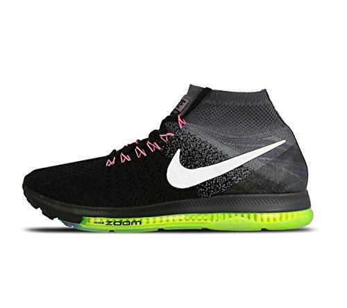 Nike Zoom all out Flyknit, Scarpe da Corsa Uomo, Nero (Nero/Bianco-Cool Grey-Volt), 43 EU