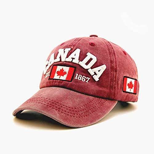 WAZHX Mode Herren Baseball Cap Letter Bestickte Kanada Caps Baumwolle Gewaschen Papa Hut Frauen Männer Outdoor Snapback Sun Hats Weinte